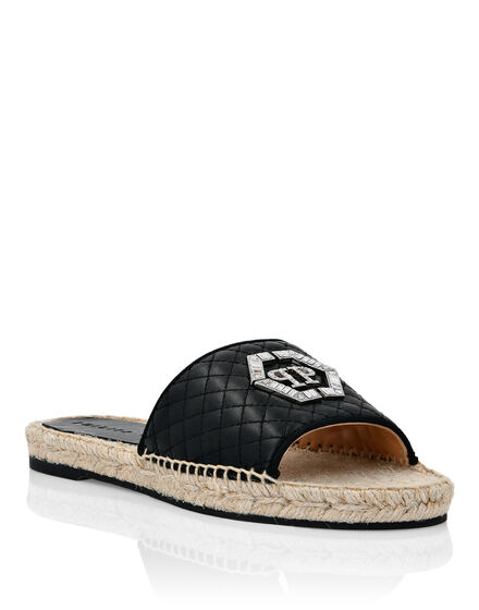 Leather matelassè Sandals Flat Hexagon