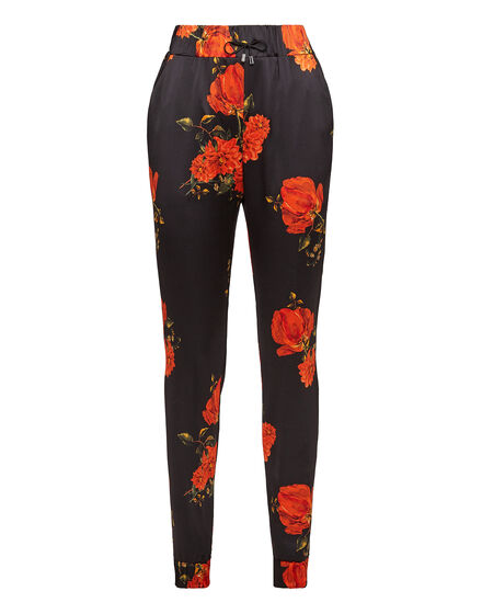 Jogging Trousers Red Flowers Print