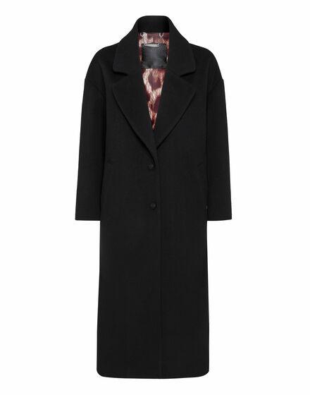 Wool Coat Long Iconic Plein