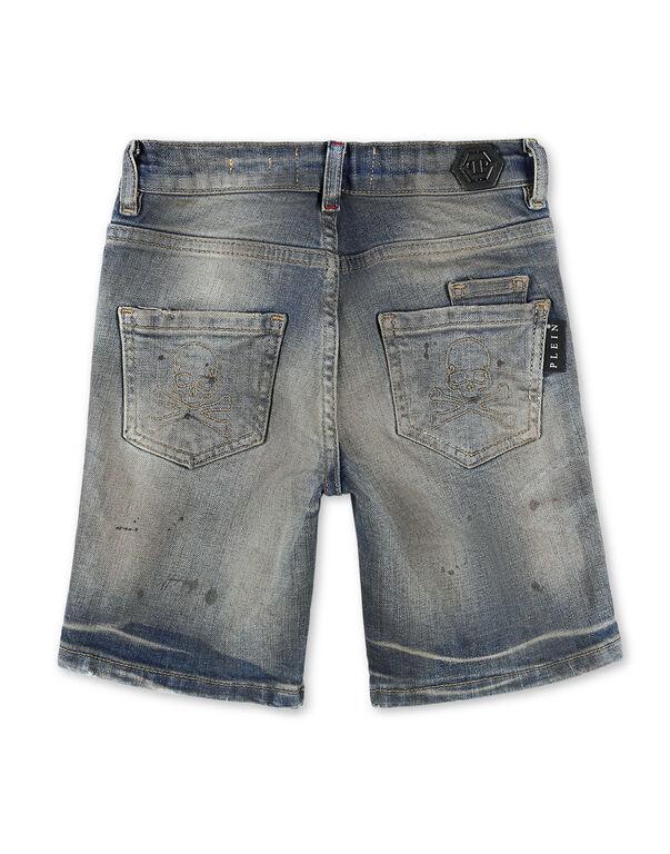 Denim Trousers Short Skull and Plein
