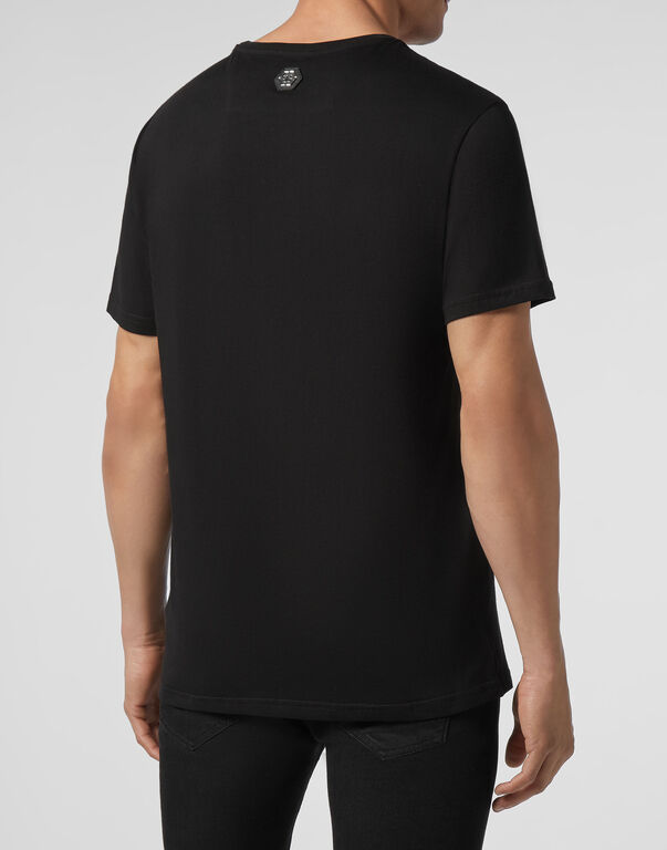 T-shirt Platinum Cut Round Neck Hexagon