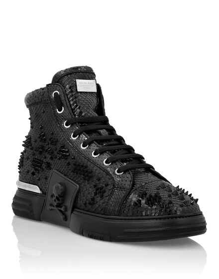 PHANTOM KICK$ Hi-Top Studded Python