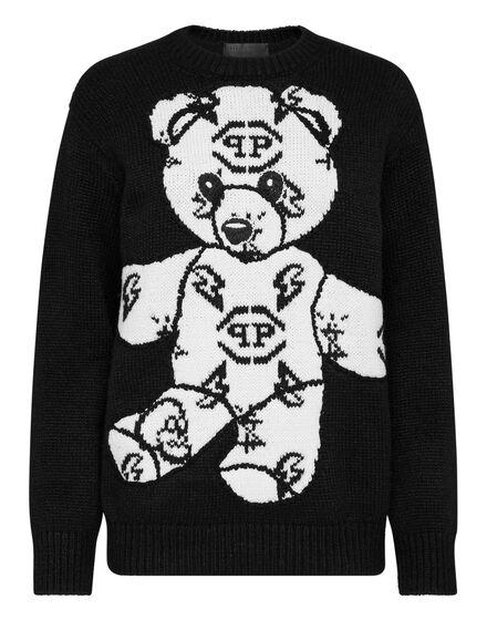 Pullover Round Neck LS Jacquard Teddy Bear