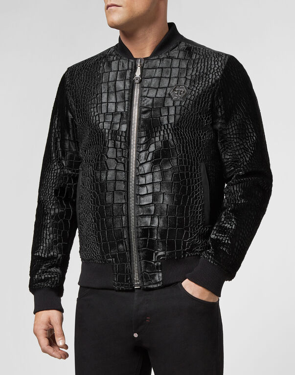 Leather Bomber Cocco print Statement