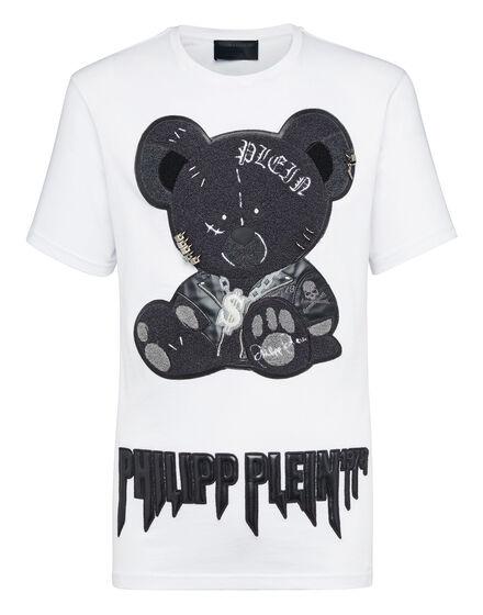 T-shirt Black Cut Round Neck Teddy Bear