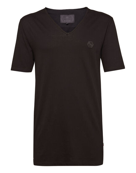 T-shirt Black Cut V-Neck Come