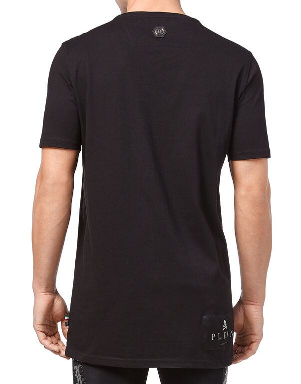 "T-shirt Black Cut Round Neck ""Speed"""