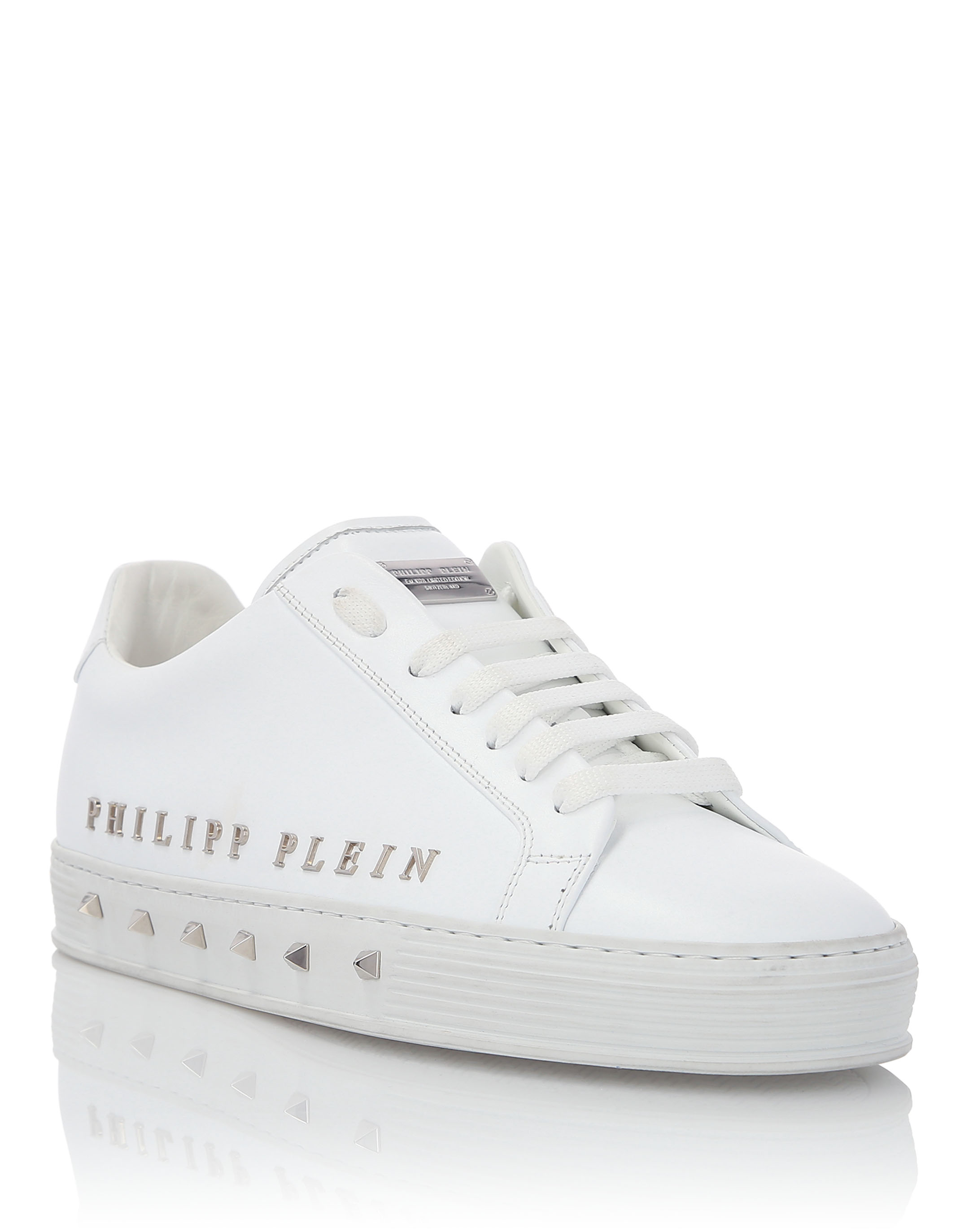 "PHILIPP PLEIN Lo-Top Sneakers ""The First Time In My Life"", White-Nickel"