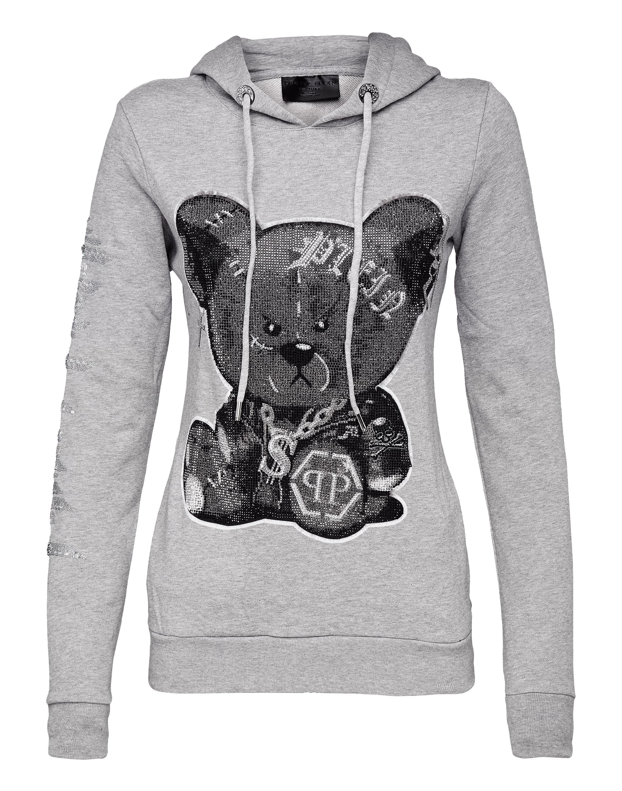Hoodie Sweatshirt Teddy Bear in Grey from PHILIPP PLEIN