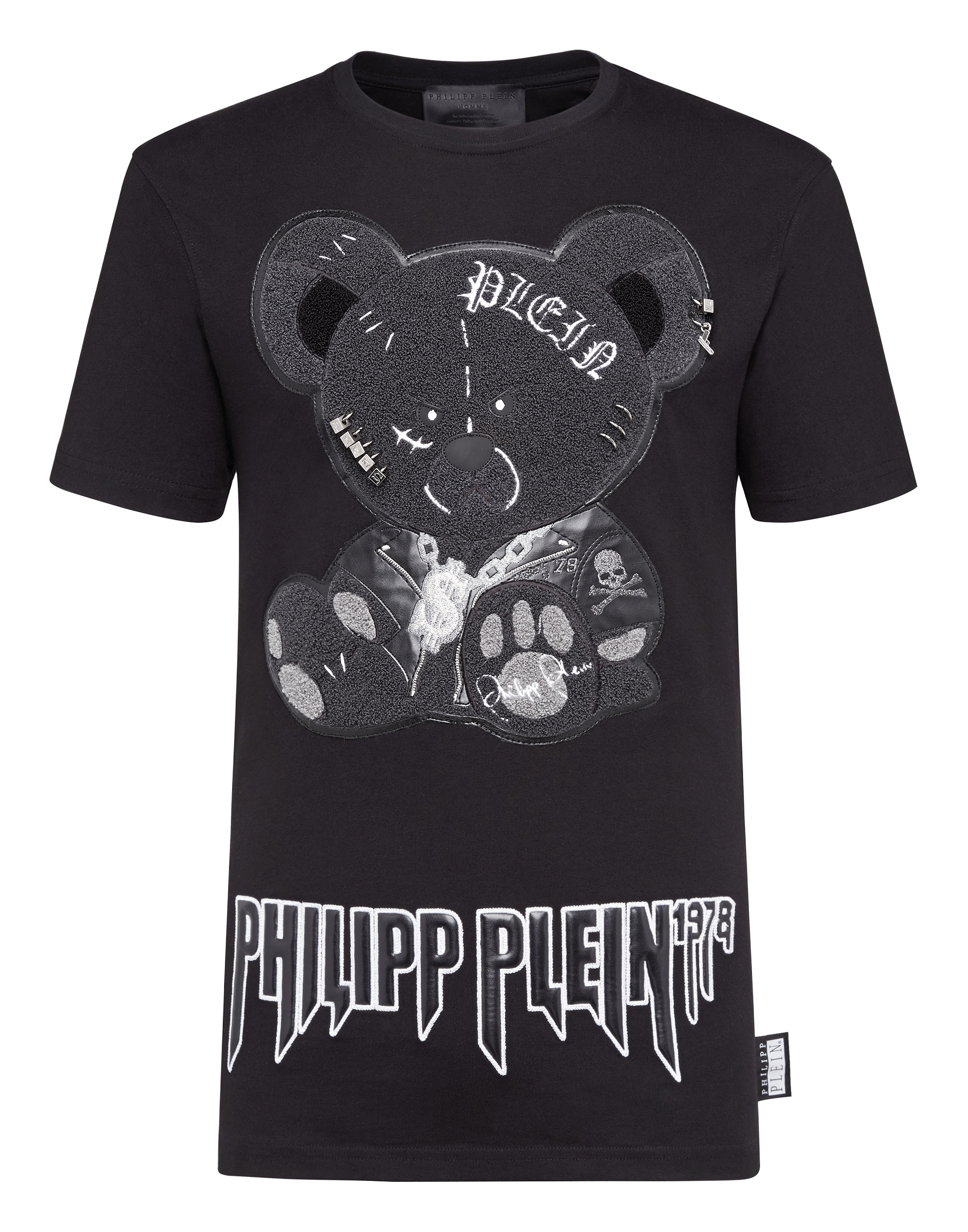 cd6e8dc25b4 T-shirt Black Cut Round Neck Teddy Bear | Philipp Plein
