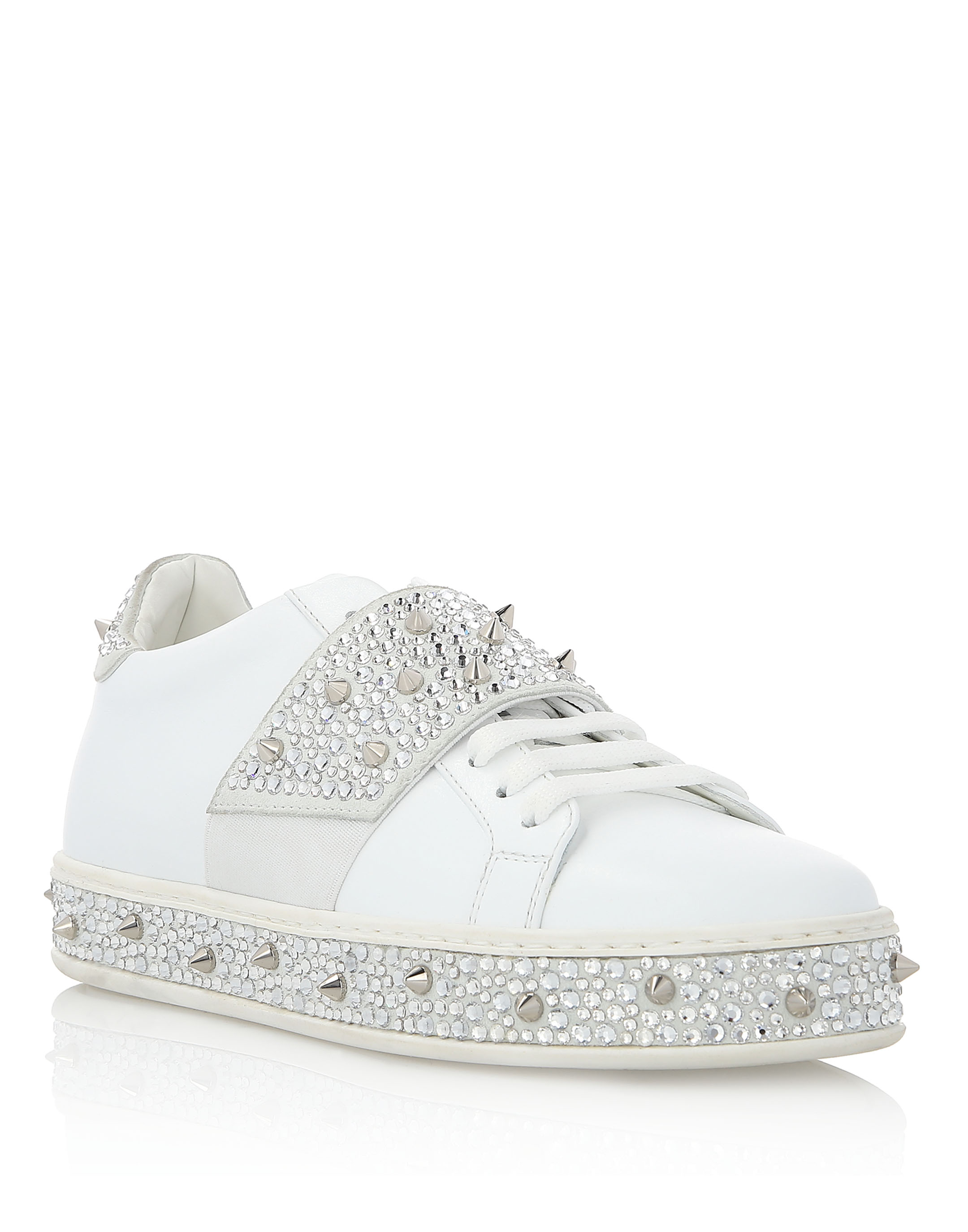 """Lo-Top Sneakers """"Full Of Crystal"""" in White from PHILIPP PLEIN"""