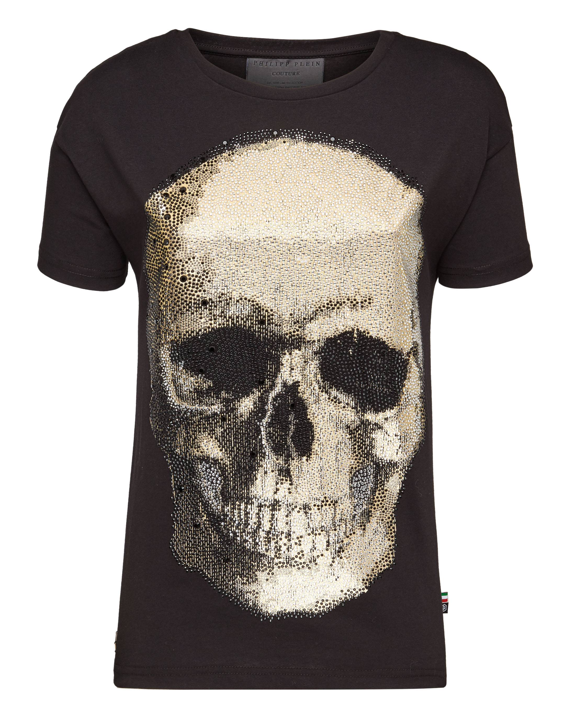 "T-Shirt Original Cut Round Neck ""Shiny Skull"", Black"