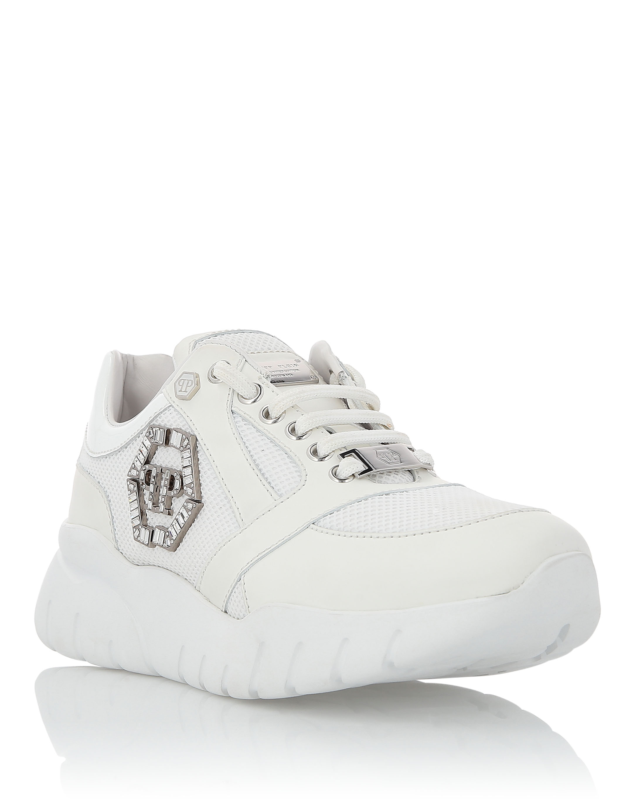 Logo Embellished Runners in White from PHILIPP PLEIN
