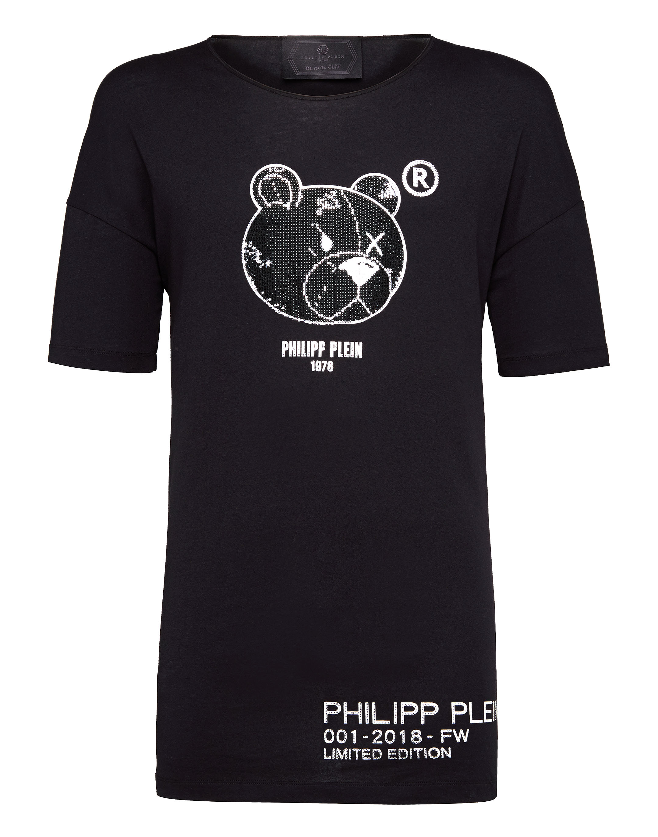 680a880187c T-shirt Black Cut Round Neck Stones Teddy Bear | Philipp Plein