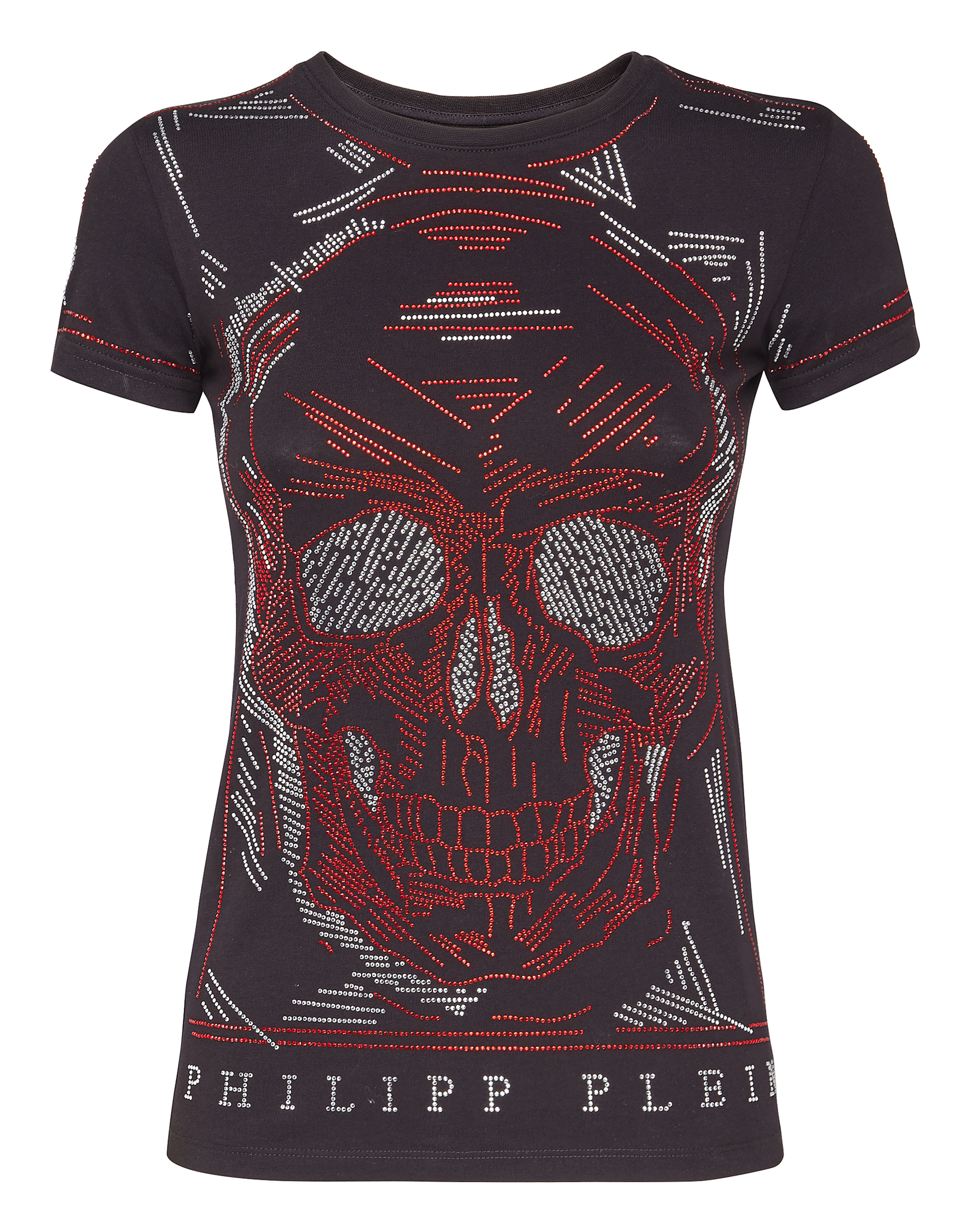 "T-Shirt Round Neck Ss ""Line Skull"", Black"